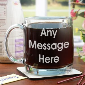 Engraved Block Message Glass Mug