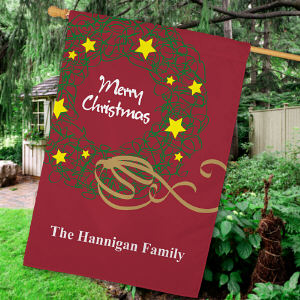 Personalized Christmas Wreath Flag