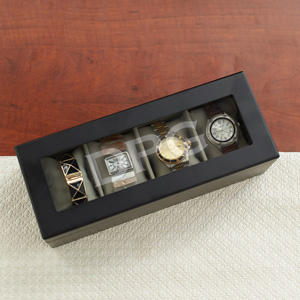 Engraved Initials Black Watch Box