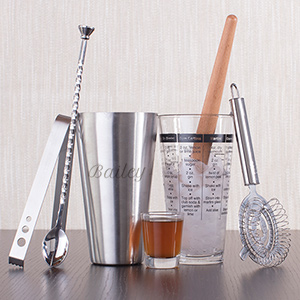 Engraved Modern Bar Mixologist Set