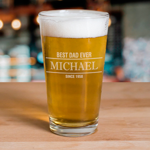 Engraved Best Dad Ever Beer Glass