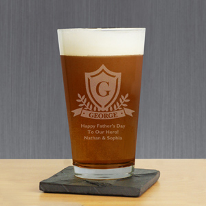 Engraved Crest Beer Glass