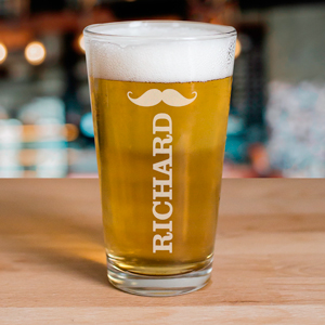 Engraved Mustache Beer Glass