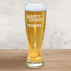 Engraved Birthday Pilsner Glass