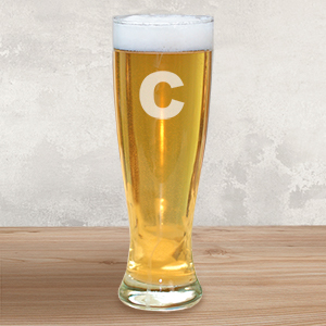 Engraved Initial Glass Pilsner