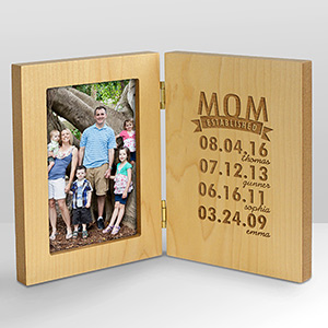 Engraved Mom Established Wood Frame