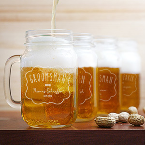 Wedding Party Mason Glass Jar