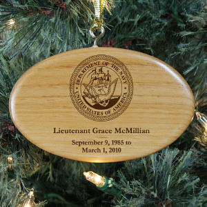 Engraved U.S. Navy Memorial Wooden Oval Ornament