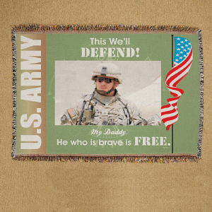 Personalized U.S. Army Photo Tapestry Throw