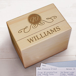Engraved Family Wood Recipe Box