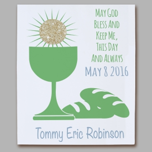First communion Eucharist Green Wall Canvas