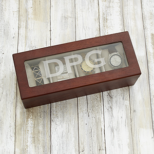 Engraved Initials Brown Watch Box