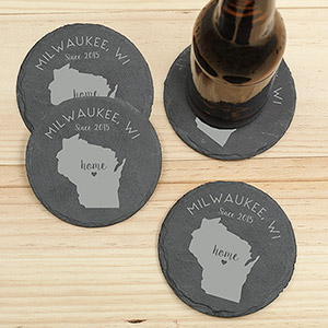 Personalized Home State Slate Coaster Set