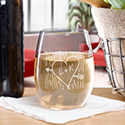Engraved Carved Initial Stemless Wine Glass L821595