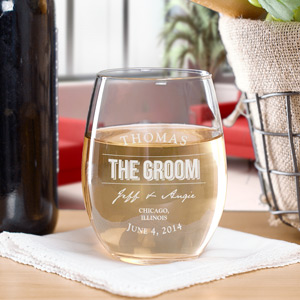Engraved Wedding Party Stemless Wine Glass
