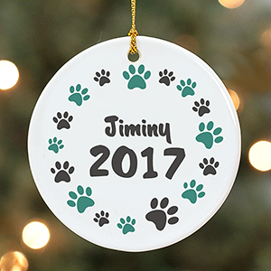 Personalized Paw Print Round Ornament