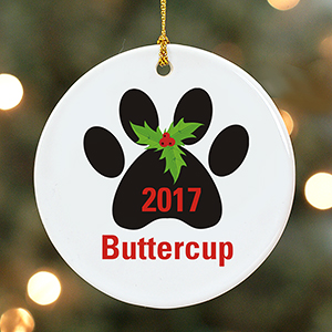 Personalized Holly Paw Print Ornament