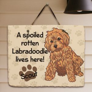 Personalized Labradoodle Spoiled Here Slate Plaque