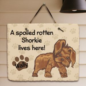 Personalized Shorkie Spoiled Here Slate Plaque