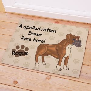 Personalized Boxer Spoiled Here Doormat