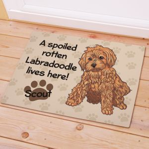 Personalized Labradoodle Spoiled Here Doormat