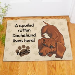 Personalized Dachshund Spoiled Here Doormat