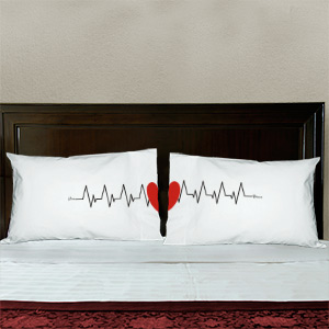 Heart Beats As One Personalized Pillowcase Set