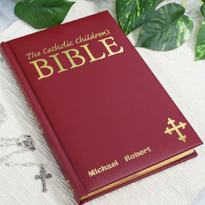 Personalized Catholic Children's Maroon Bible
