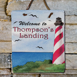 Personalized Lighthouse Welcome Slate Plaque