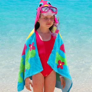 Embroidered Fish Hooded Beach Towel