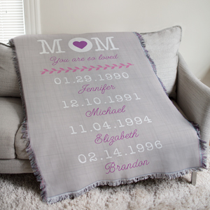 Personalized Mom Tapestry Throw
