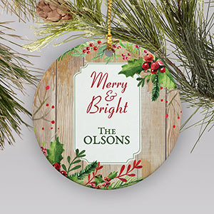 Personalized Merry and Bright Holly Ornament