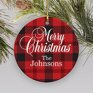 Personalized Merry Christmas Plaid Ornament
