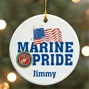 Personalized Ceramic Military Pride Ornament