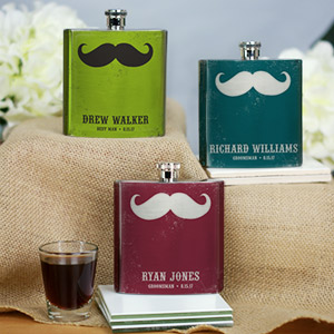 Personalized Mustache Wedding Party Flask