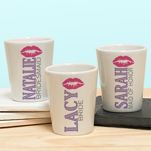 Personalized Bridal Party Ceramic Shot Glass