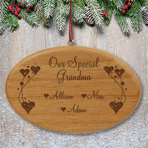 Engraved Grandma Wooden Oval Ornament