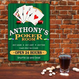 Poker Room Personalized Wall Sign