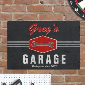 My Garage Personalized Man Cave Metal Sign