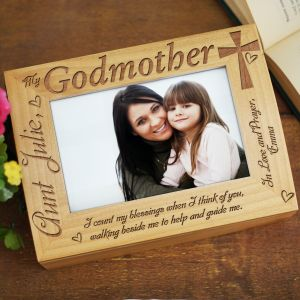 Engraved Godparent Wood Photo Keepsake Box