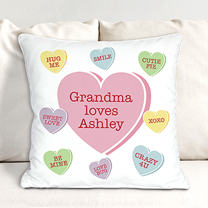 Personalized Conversation Hearts Throw Pillow