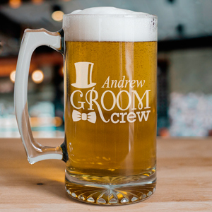 Engraved Groom Crew Glass Mug