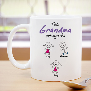 Personalized Belongs To Grandma White  Coffee Mug