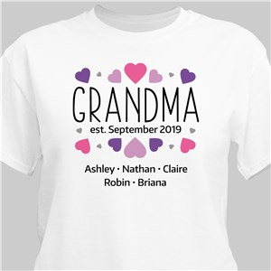 Personalized Grandma Hearts T-Shirt