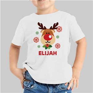 Personalized Reindeer Youth White T-Shirt