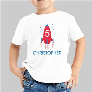 Personalized Rocket Ship Boy's Youth T-Shirt
