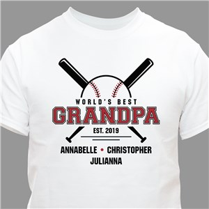 Personalized World's Best Grandpa Baseball T-Shirt