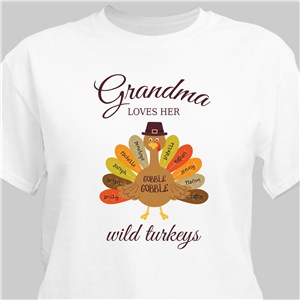 Personalized Grandma Loves Her Wild Turkeys T-Shirt