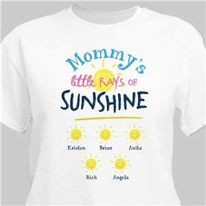 Personalized Mommy's Little Rays Of Sunshine White T-Shirt