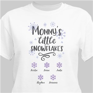 Personalized Mommy's Little Snowflakes White T-Shirt